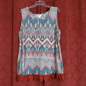 Just Be Womens 3X Sleeveless Southwest Style Top